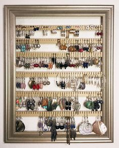 Earring Holder Organizer Storage Jewelry Rack - Wall Mounted Picture Frame Hanging Jewelry Display - Available in 4 Colors - Champagne, Large - Lovely Novelty Jewelry Organizer Wall, Jewelry Hanger, Hanging Jewelry, Wall Organization, Jewelry Tree, Jewelry Stand, Jewellery Storage, Jewellery Display, Jewelry Organization
