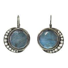 Big Full Moon Dangle Earrings ($3,740) ❤ liked on Polyvore featuring jewelry, earrings, dangle earrings, 14k jewelry, long earrings, blue dangle earrings and white gold earrings