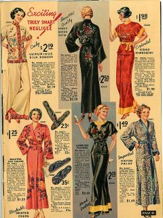 I want all of these Herrschners 1936 fashion color photo print ad illustration robe pajamas lounge wear red black blue white floral silk models magazine catalogue 1930s Fashion, Retro Fashion, Vintage Fashion, Style Fashion, Fashion Design, Vintage Ads, Vintage Sewing, Vintage Style, Vintage Vogue