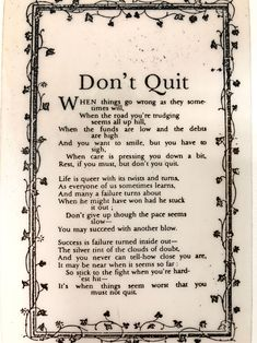 'Don't Quit', poem probably written by John Greenleaf Whittier (1807-18920). Jacques Arpels often gave to this staff four-leaf clovers picked from his garden along with this ode to perseverance and good fortune. © Van Cleef & Arpels.