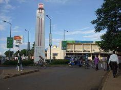 Oginga Odinga Street, Kisumu, Kenya    the blue vehicle is called a Tuk Tuk.  I rode in them all the time