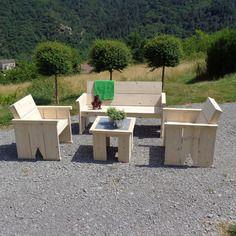 Salon de jardin 4 places en acacia : 1 table réglable + 1 canapé + ...