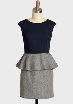 Made For Me  Tweed Dress 62.99 at shopruche.com. Perfectly polished, this navy dress is styled with a brown and blue tweed herringbone skirt and a classic vintage-styled peplum. Finished with a defined waist, a kick pleat for graceful movement, and a hidden back zipper closure.Self: 95% Polyester, 5% Wool,...