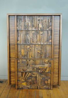 Anonymous; Oak and Wood Mosaic Dresser by Lane Furniture, c1970.