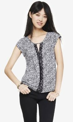 PRINTED KEYHOLE LACE PIECED BLOUSE from EXPRESS:  Great top!  Lightweight w/ great details.  Looks great with colored jeans or pants.