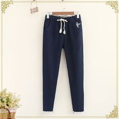 Buy Fairyland Embroidered Cat Tapered Pants at YesStyle.com! Quality products at remarkable prices. FREE WORLDWIDE SHIPPING on orders over US$35.