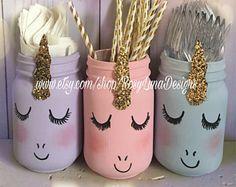 Pastel unicorn mason jar set, unicorn birthday party, pink, purple and blue, unicorn baby shower, nursery decor