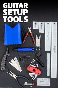 A definitive list of the tools you'll need if you want to set up your guitars yourself. Divided into beginner, intermediate, and advanced tools for all levels, from the at-home DIY-er to the pro guitar tech. Guitar Diy, Box Guitar, Guitar Building, Electric Guitars, Guitar Lessons, Info, Keep It Cleaner, Guy, Tech