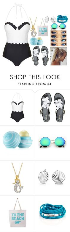 """Swimming outfit"" by cherish-goes-rawr ❤ liked on Polyvore featuring Topshop, Melissa, Eos, Bling Jewelry, ALPHABET BAGS and Blooming Lotus Jewelry"
