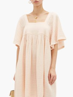 Anneka square-neckline cotton-gauze dress | Anaak | MATCHESFASHION US Gauze Dress, Silk Nightgown, Resort Wear For Women, Night Dress For Women, Cotton Sleepwear, Beach Wear Dresses, Top Wedding Dresses, Square Necklines, Classy Outfits