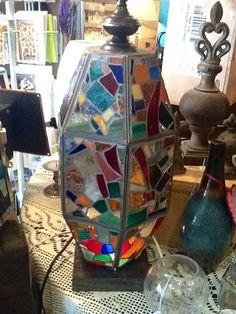 Repurposed, mosaic lamp.