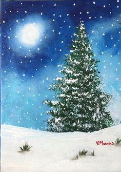 Oh Christmas Tree by Victoria Jimenez Christmas Tree Canvas, Painted Christmas Cards, Christmas Tree Drawing, Watercolor Christmas Tree, Christmas Paintings, Christmas Art, Xmas, Christmas Landscape, Winter Landscape