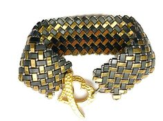 Black and Bronze Tila Cuff Bracelet by JBTilas on Etsy