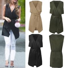 Women Coat Sleeveless Waterfall Cape Long Cardigan Jacket Coat Windbreak Occasion: Casual Material: Acrylic Season: Autumn, Spring Size: S M L XL Color: Black, khaki, brown, green Pattern: Solid Included: Women Coat Cardigan Style, Shawl Cardigan, Black Cardigan, Long Cardigan, Waterfall Cardigan, Cardigan Fashion, Blazers For Women, Cardigans For Women, Coats For Women