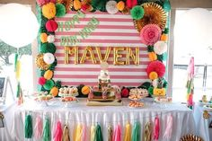 Pineapple themed dessert table from a Party Like a Pineapple Tropical Birthday Party on Kara's Party Ideas   http://KarasPartyIdeas.com (19)