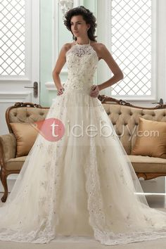 Amazing A-line High-Neck Sleeveless Floor-Length Court Appliques Color Wedding Dress