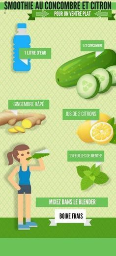 Cucumber and lemon smoothie for a flat stomach - Smoothies - Detox Healthy Detox, Healthy Smoothies, Healthy Drinks, Healthy Tips, Easy Detox, Healthy Food, Vegan Detox, Healthy Lunches, Healthy Habits