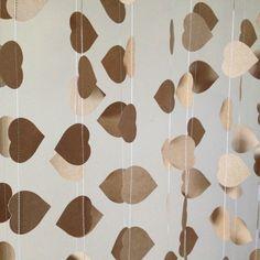 10 Metres Natural Heart Garland Vintage Shabby Chic - beach wedding decoration, baby shower decoration, love, heart via Etsy
