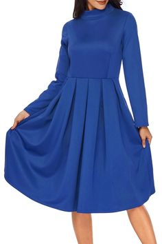 Royal Blue Pocket Style High Neck Long Sleeve Skater Dress MB61841-5 – ModeShe.com Nice Dresses, Casual Dresses, Dresses For Work, Elegant Dresses, Casual Fall Outfits, Swing Dress, A Line Skirts, Skater Dress, Dress Collection