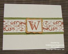 SU! Monogrammed note cards - fall by TinyAcorns - Cards and Paper Crafts at Splitcoaststampers