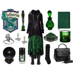 Slytherin House by maggiehemlock on Polyvore featuring polyvore fashion style Camo Boohoo Preen DailyLook Tressa Dorothy Perkins ZENTS Nails Inc. iittala Mineral