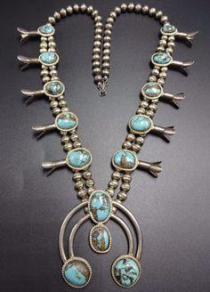 Vintage NAVAJO Sterling Silver & Light Blue Turquoise SQUASH BLOSSOM Necklace