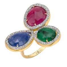 Triple Gems Ring | Red C Jewels #jewelry #ring #diamonds #ruby #emerald #sapphire #gold #rubyring #sapphirering #emeraldring #diamonds #pavediamonds