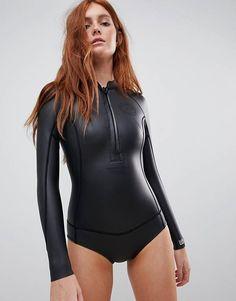 Shop Billabong Salty Days wetsuit in black at ASOS. Billabong, Pullover Shirt, Scuba Girl, Womens Wetsuit, Black Swimsuit, Plus Size Swimwear, Beachwear, Ideias Fashion, Swimsuits