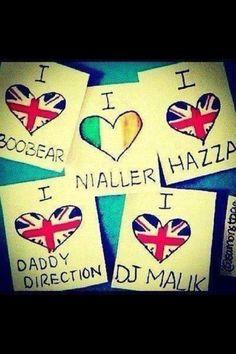This is cute! Boo Bear: Louis Nialler: Niall Hazza: Harry DJ Malik: Zayne Daddy Direction: Liam