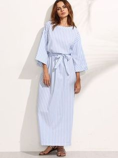 Belt: YES Fabric: Fabric has no stretch Season: Summer Pattern Type: Striped Sleeve Length: Three Quarter Length Sleeve Color: Blue Dresses Length: Maxi Style: Casual Material: 100% Cotton Neckline: Round Neck Silhouette: Shift Decoration: Bow Shoulder(Cm): XS:57cm, S:58cm, M:59cm, L:60cm Bust(Cm): XS:106cm, S:110cm, M:114cm, L:118cm Length(Cm): XS:146cm,S:147cm,M:148cm,L:149cm Sleeve Length(Cm): XS:35cm, S:36cm, M:37cm, L:38cm Size Available: XS,S,M,L