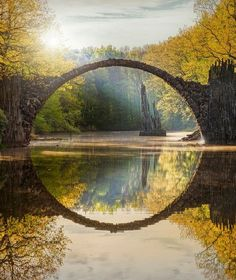 Beautiful Places...Rakotzbrücke (Rakotz Bridge), Kromlau, Germany, photo via Conde Nast Traveler.