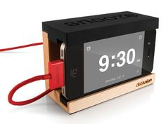 This stand turns your iPhone into an alarm clock! Awesome for college dorms!