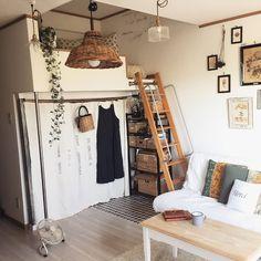 Bedroom/クローゼット/雑貨/カーテン/一人暮らし/狭い部屋...などのインテリア実例 - 2017-08-09 07:01:23 | RoomClip (ルームクリップ)
