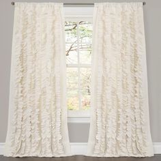 Lush Decor Belle 84-inch Curtain Panel (Ivory), Beige Off-White, Size 54 x 84 (Polyester, Novelty)