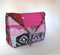 UpCycled Valentine Pink Envelope Clutch Bag by itzaChicThing