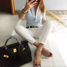 """3,564 Likes, 53 Comments - María Sicilia (@mjsicilia) on Instagram: """"#lookoftheday #christianlouboutin #clflats #citizensofhumanity jeans #hermeskelly #kellybag with…"""""""
