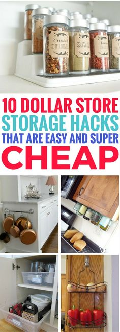 Cheap Dollar Store Organization Hacks that will reduce kitchen clutter and help organize your entire kitchen. Such BRILLIANT organization hacks you'll want to try! So HAPPY to have found this.
