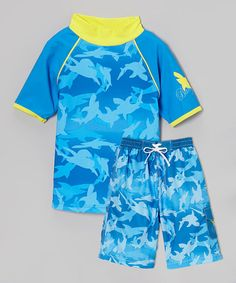 Look what I found on #zulily! Blue & Yellow Shark Rashguard Set - Toddler & Boys #zulilyfinds