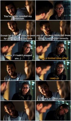 "Ok. Mon-El teasing Kara about her eating habits is possibly my favorite moment in this awesome ep She's so outraged (""I HAD TO!"") and it's just so darn CUTE! I love how happy they make each other, and I was worried that Mon-El was going to come back with zero humor, so this gives me hope. (Also, those SMILES! <3 Ugh, I've missed them.) 