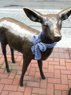 Cute deer yarn bomb
