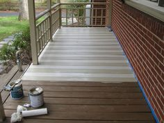 See how alternating stripes of porch paint changes the entire look of an old porch! Just make sure u put several coats of polyurethane clear coat on top to protect it! How To Paint A Wood Deck Or Front Porch (We Did Subtle Stripes) Painted Porch Floors, Painted Front Porches, Porch Paint, Porch Flooring, Painted Decks, Porch Wood, Wood Patio, Diy Patio, Backyard Patio