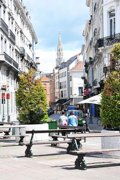 The Marolles quarter of Brussels, in earlier days where lower-class citizens lived, nowadays a trendy district