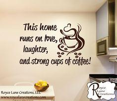 Muestra de cocina pared calcomanía café por RoyceLaneCreations