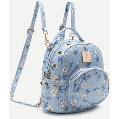 SheIn(sheinside) Blue Flower Print Front Pocket PU Backpack (735 RUB) ❤ liked on Polyvore featuring bags, backpacks, blue bag, pu backpack, blue floral backpack, floral rucksack and polyurethane bags