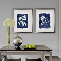Botanical Wall Decorations - 'Indigo Botanical' - 2 Piece Picture Frame Print Set