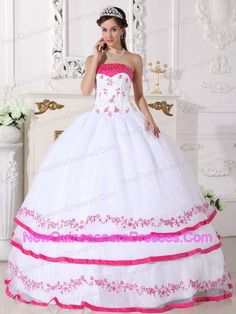 white sweet 15 dress with pink trim