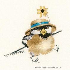 Gardener Chick - Valerie Pfeiffer Chickadees Cross Stitch Kit from Heritage Crafts