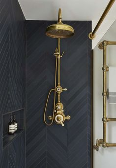 moody shower with black tile and brass plumbing fixtures