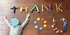 Use the toys your child received to spell out a message; photograph & send as a thank you card.