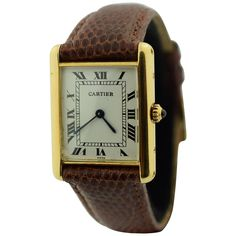 Shop luxury and designer wrist watches and other gold antique and vintage watches from the world's best jewelry dealers. Gentleman Watch, Cartier Watches, Tank Watch, Cartier Tank, Lady And Gentlemen, Square Watch, Vintage Watches, Luxury Watches, Jewelry Accessories